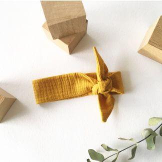 Bandeau gaze de coton moutarde accessoire bébé clermont fd