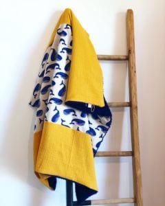 Couverture bébé mixte baleine moutarde clermont-fd