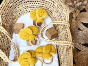 Anneau de dentition oreilles ours moutarde
