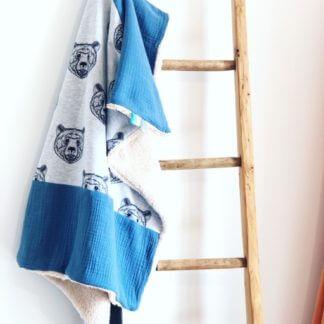Couverture bébé garçon ours et bleu clermont-fd
