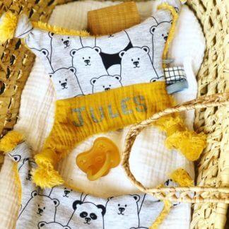 doudou fait main panda prenom accessoire bébé Clermont-Fd