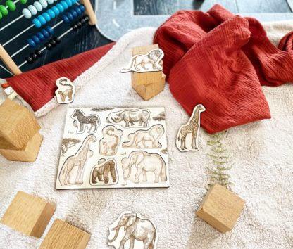 Puzzle bois bébé clermont fd safari