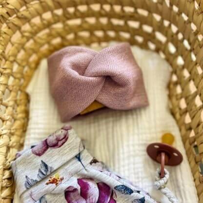 bandeau bébé fille turban mauve
