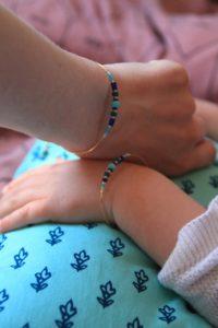 bracelet duo maman enfant bleu et vert 2