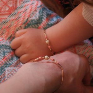 bracelet duo maman enfant rose 2