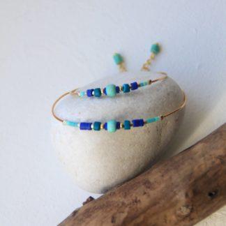 bracelet duo maman enfant bleu et vert