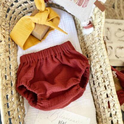 bloomer gaze de coton terracotta bébé